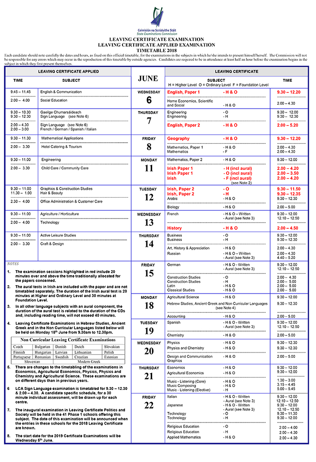 lc timetable 18